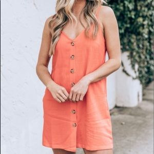 Pink Lily Coral Linen Dress